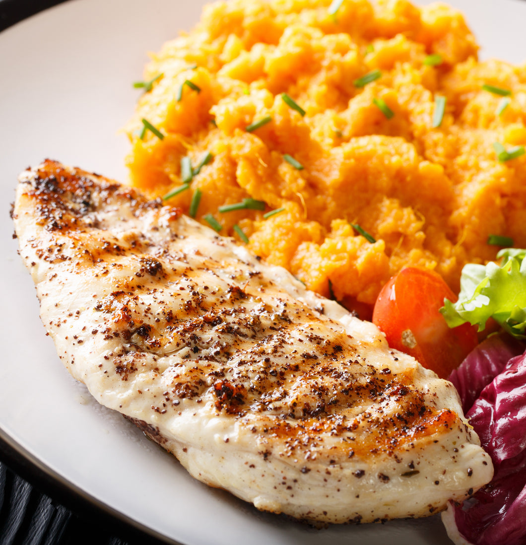 Grilled turkey with sweet potato mash