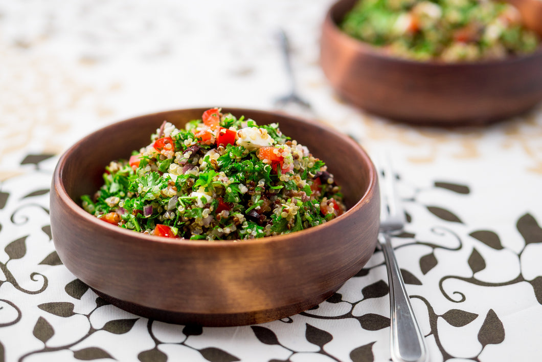 Tabbouleh with feta and tzatziki