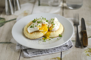 Toasted Crumpet and Poached Eggs