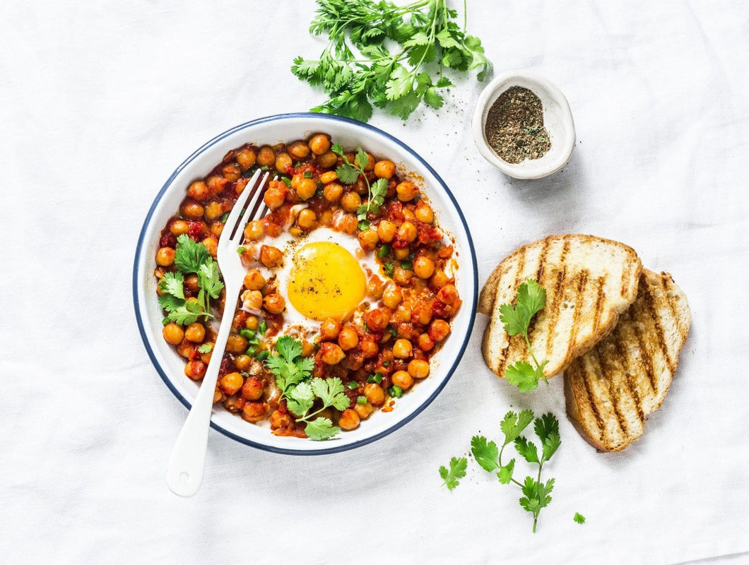 Poached eggs and chickpeas