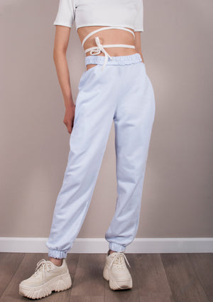Pantaloni Side Crop White