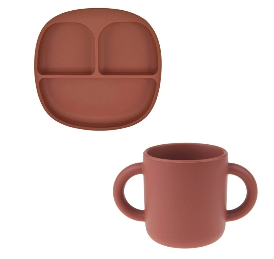 The Piper Tray & Cup Set - Brick | Bonded By Babies