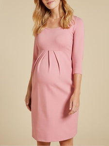 Maternity casual solid color dress