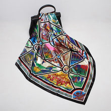 Load image into Gallery viewer, Fashionable retro color printed square silk scarf