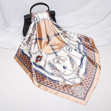 Load image into Gallery viewer, Fashion belt horseshoe pattern imitated silk printing square scarf