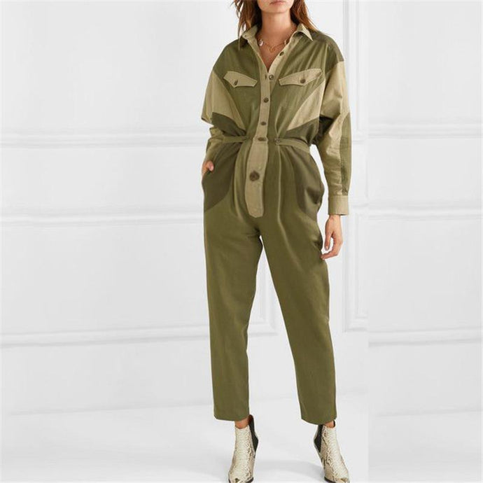 Casual women's colorblock long sleeve jumpsuit