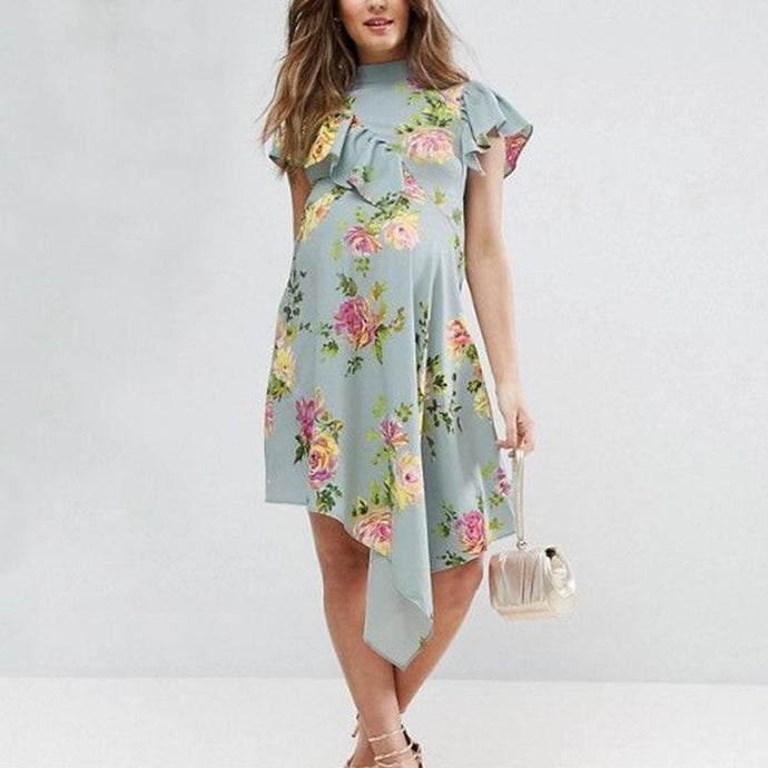 Maternity Casual Printed Color Round Neck Dress