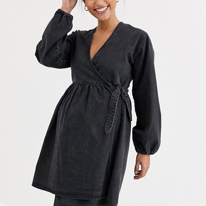 Maternity Casual simple v-neck long sleeve belted dress