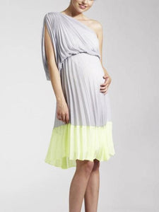 Maternity Fashion Single Off Shoulder Collar Colorblock Pleated Dress