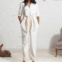 Load image into Gallery viewer, Fashion women's solid color lapel jumpsuit