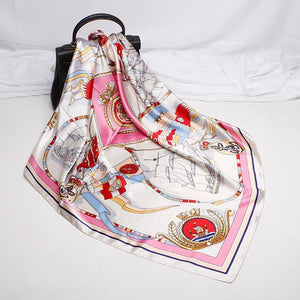 Fashion sailing sailboa pattern satin printing square scarf