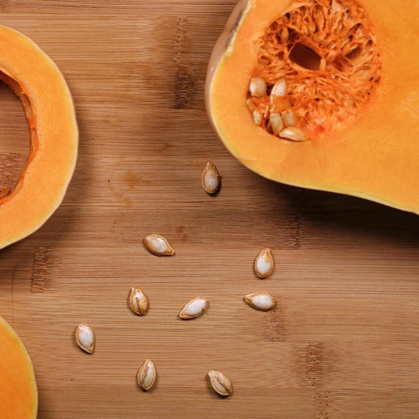 Butternut Squash and seeds on table