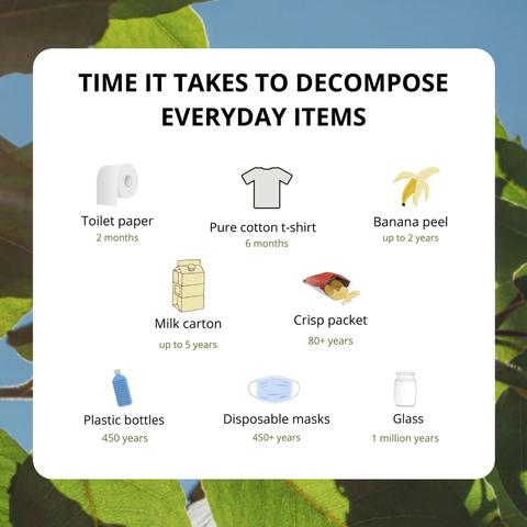 Time it takes to decompose everyday items - infographic