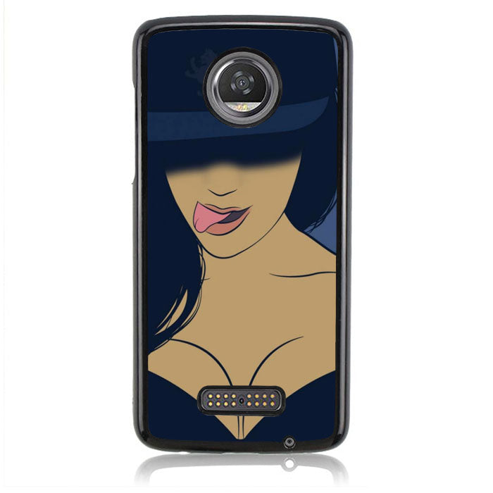 Hip hop cap tongue purple girl B0091 Motorola Moto Z2 Play Case