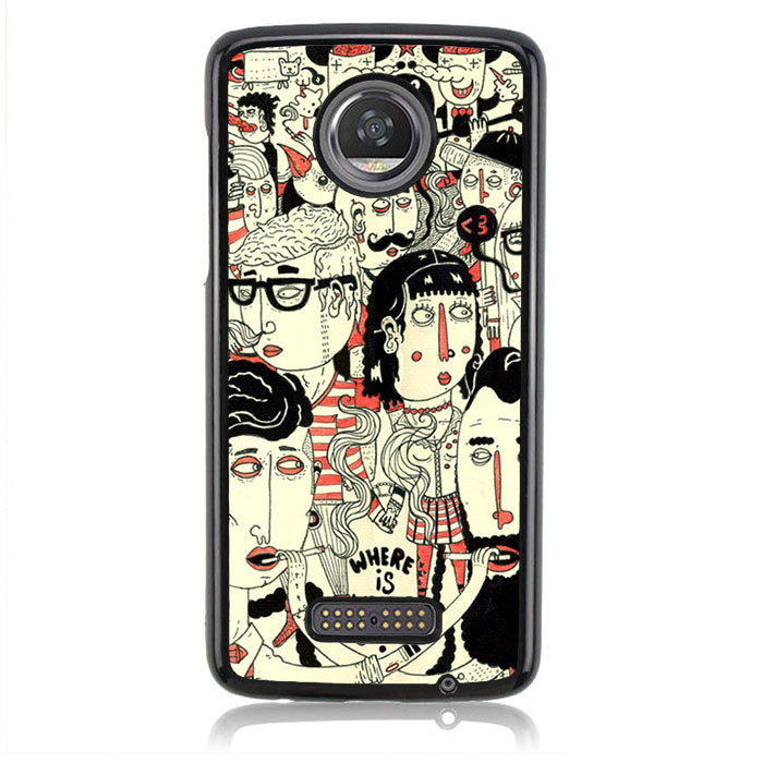 Waldo Hipster Party H0026 Motorola Moto Z2 Play Case