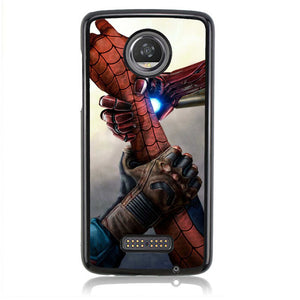 Spiderman Get Helped of Iron Man And Captain America J0652 Motorola Moto Z2 Play Case