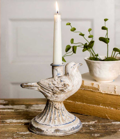 distressed taper candle holder--singing bird