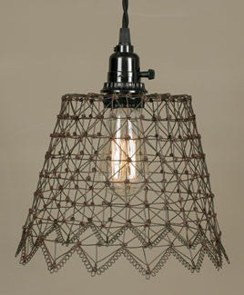 French Wire Pendant Lamp - Green/Rust