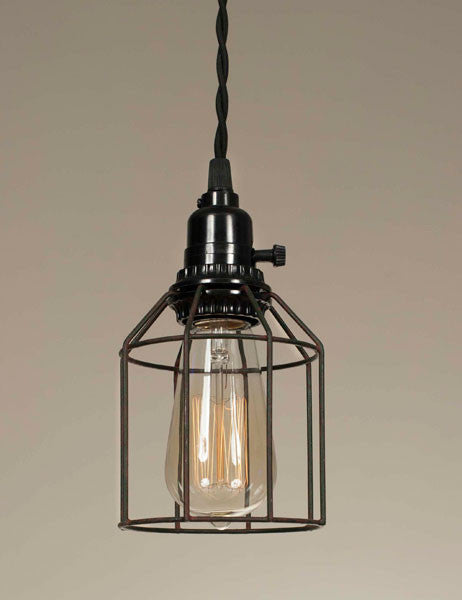 Wire Caged Pendant Lamp--Green Rust