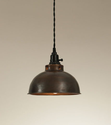 Aged Copper Dome Pendant Lamp