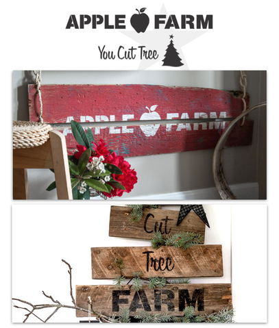 Funky Junk Old Sign Stencil--Apple Farm/You Cut Tree combo