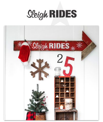 Funky Junk Old Sign Stencil--Sleigh Rides