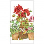 Flour Sack Kitchen Towel--Geranium Hummingbird Pots