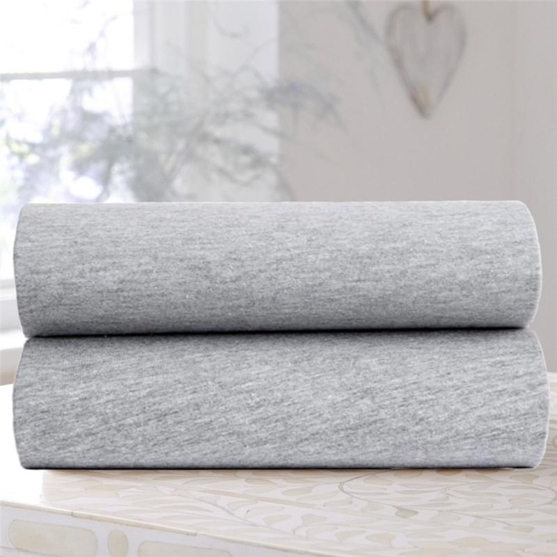 Clair De Lune cot bed sheets Clair De Lune Cot Bed Fitted Sheet 2 Pack Grey Marl CL5956