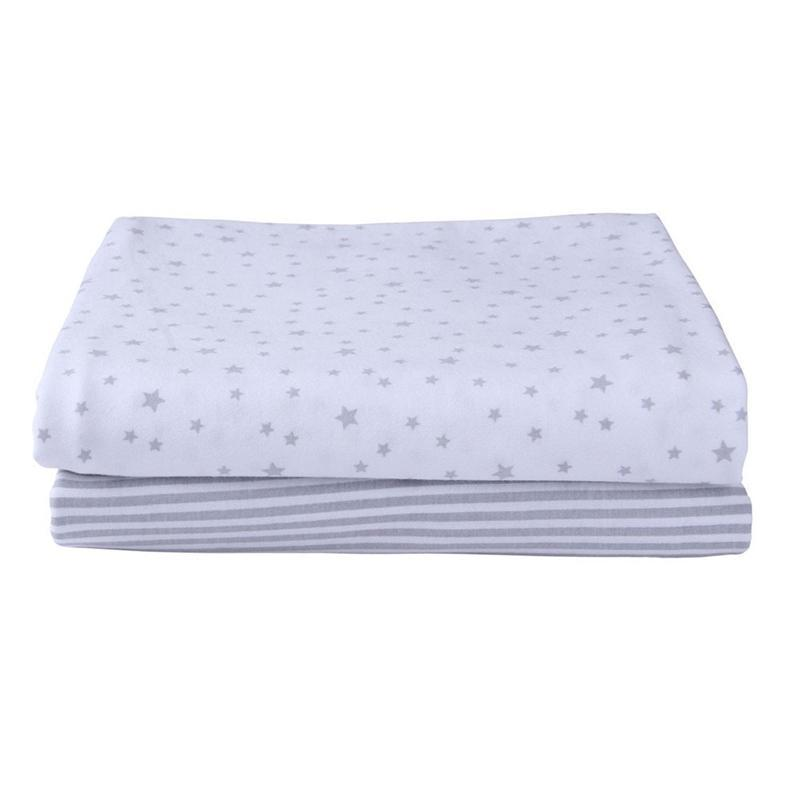 Clair De Lune pram & moses sheets Clair De Lune Pack Of 2 Fitted Moses Sheets Printed Grey CL5667GY