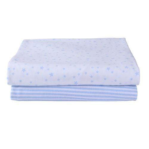 Clair De Lune pram & moses sheets Clair De Lune Pack Of 2 Fitted Moses Sheets Printed Blue CL5667BE