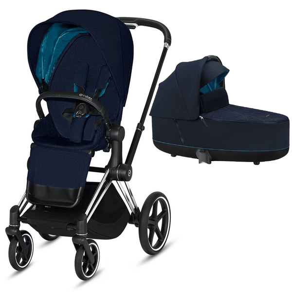 Cybex baby prams Cybex Priam & Lux Cot Chrome Black/Nautical Blue 6397-CH-BLK-NB