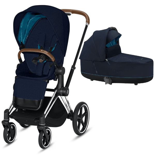 Cybex baby prams Cybex Priam & Lux Cot Chrome Brown/Nautical Blue 6400-CH-BRN-NB