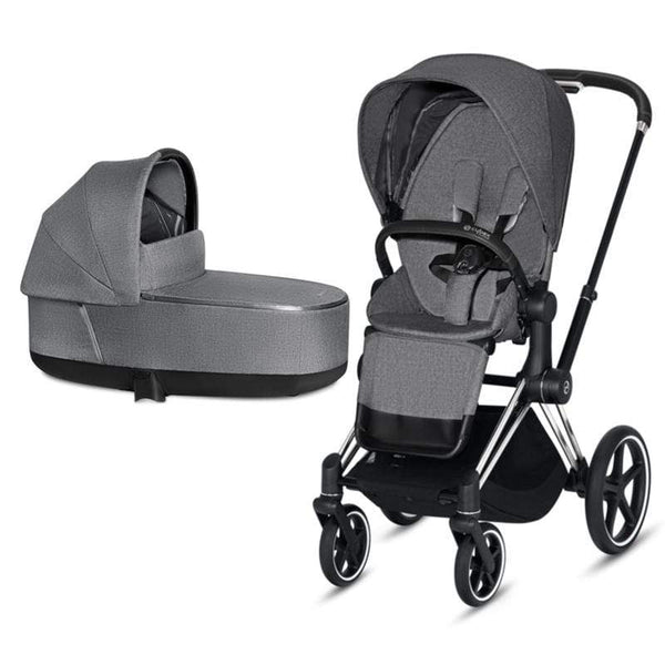 Cybex baby prams Cybex Priam & Lux Cot Chrome/Black/Manhattan Grey Plus T7PXHSX