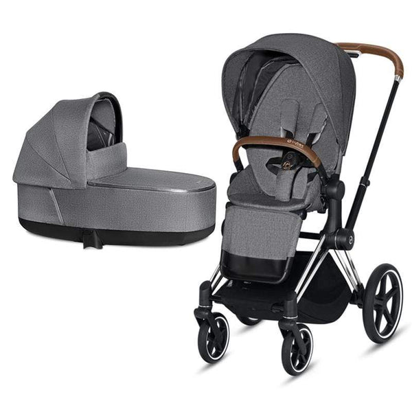 Cybex baby prams Cybex Priam & Lux Cot Chrome/Brown/Manhattan Grey Plus V23CDBF