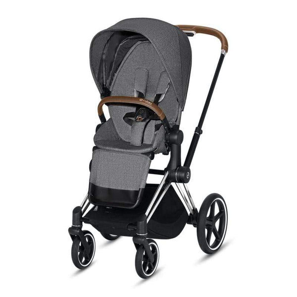 Cybex baby pushchairs Cybex Priam Pushchair Chrome/Brown/Manhattan Grey Plus 165IIR7