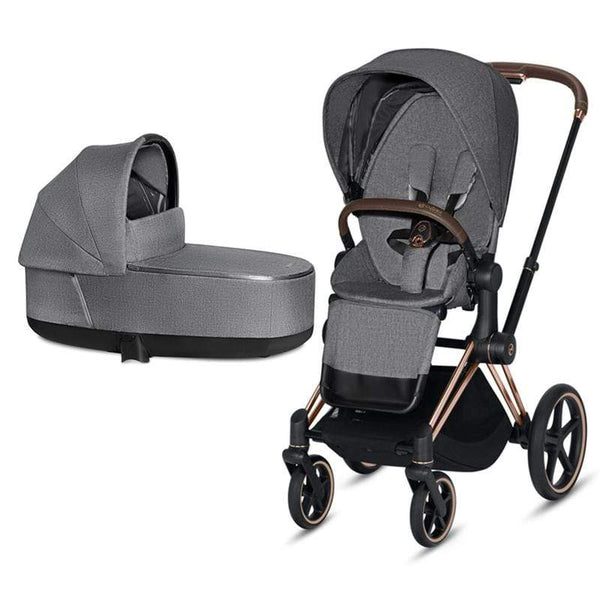 Cybex baby pushchairs Cybex Priam & Lux Cot Rose Gold/Manhattan Grey Plus Z8XBSHQ