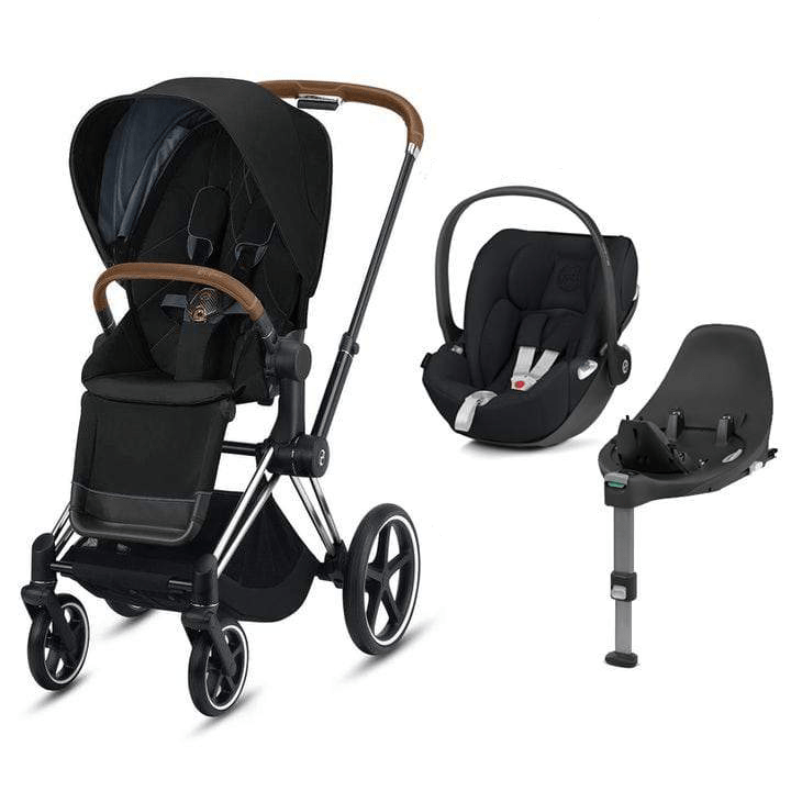 Cybex travel systems Cybex e-Priam Cloud Z  & Base Travel System Chrome Brown/Deep Black 6353-CBRN-DBLK