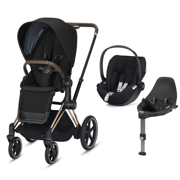 Cybex travel systems Cybex e-Priam Cloud Z  & Base Travel System Rose Gold/Deep Black 6348-ROSE-DBLK