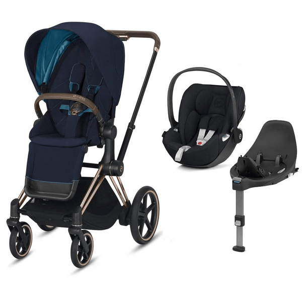 Cybex travel systems Cybex e-Priam Cloud Z  & Base Travel System Rose Gold/Nautical Blue 6347-ROSE-NBLU