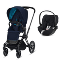 Cybex travel systems Cybex e-Priam Cloud Z Travel System Matt Black/Nautical Blue 6342-MBLK-NBLU