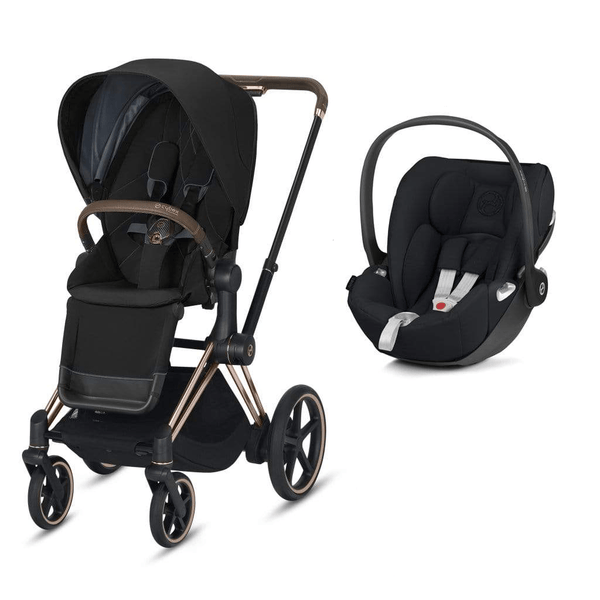 Cybex travel systems Cybex e-Priam Cloud Z Travel System Rose Gold/Deep Black 6338-ROSE-DBLK