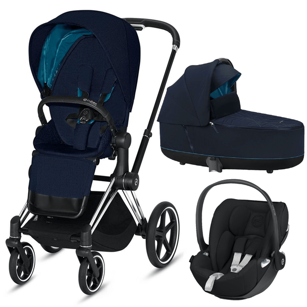 Cybex travel systems Cybex Priam 3 in 1 Travel System Chrome Black/Nautical Blue 6409-CH-BLK-NB