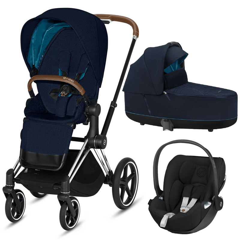 Cybex travel systems Cybex Priam 3 in 1 Travel System Chrome Brown/Nautical Blue 6412-CH-BRN-NB