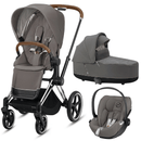 Cybex travel systems Cybex Priam 3 in 1 Travel System Chrome Brown/Soho Grey 6411-CH-BRN-SG