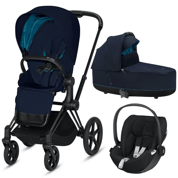 Cybex travel systems Cybex Priam 3 in 1 Travel System Matt Black/Nautical Blue 6415-BLK-NB