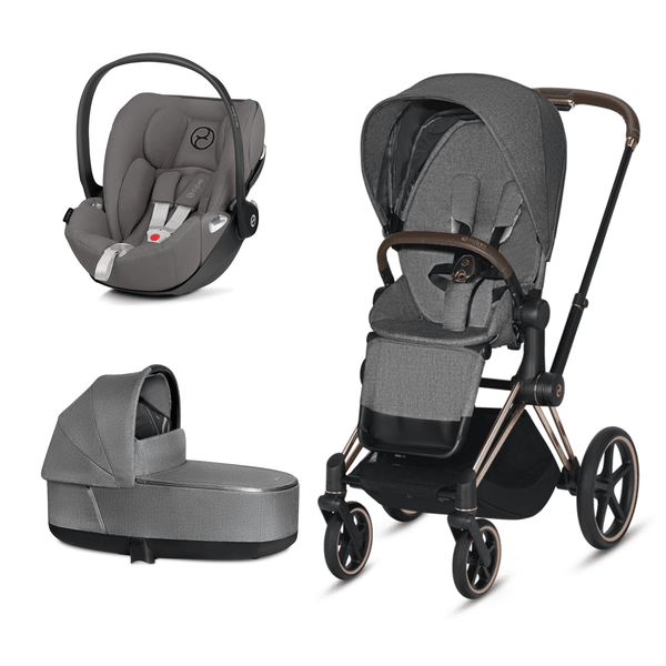 Cybex travel systems Cybex Priam 3 in 1 Travel System Rose Gold/Manhattan Grey Plus 6367-RG-GRY