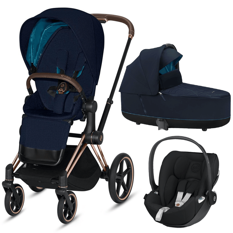 Cybex travel systems Cybex Priam 3 in 1 Travel System Rose Gold/Nautical Blue 6418-RG-NB