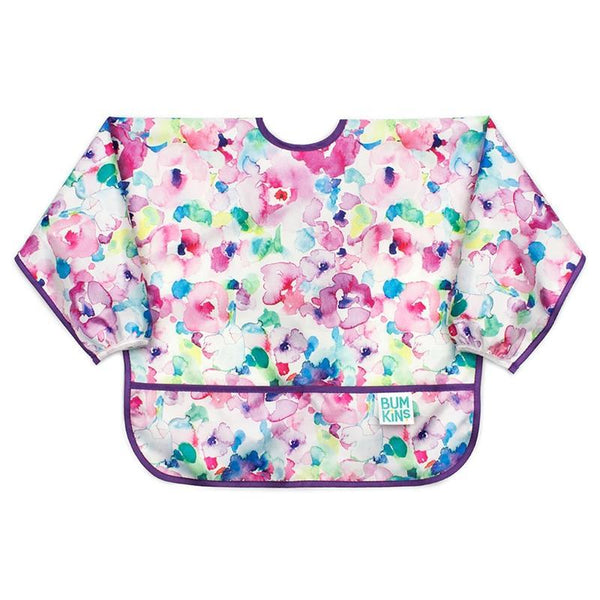 Hippychick feeding & weaning Bumkins Sleeved Bib Watercolour BUMKSU32