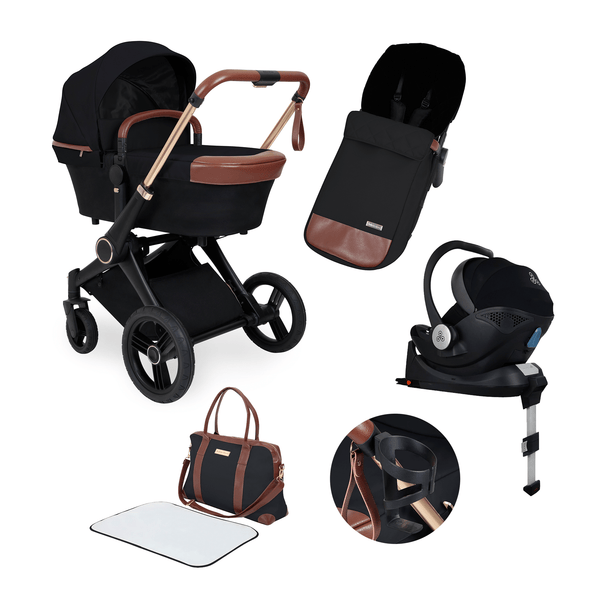 Ickle Bubba travel systems Aston Rose Mercury i-Size Travel System with Base Black/Black/Tan 10-001-300-003