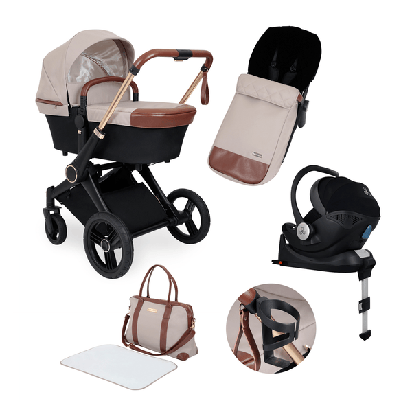 Ickle Bubba travel systems Aston Rose Mercury i-Size Travel System with Base Black/Stone/Tan 10-001-300-016